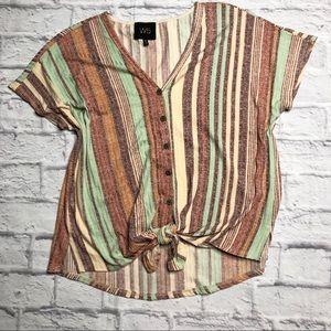 W5 striped tie front short sleeved tee medium